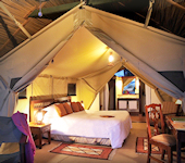 Sweetwaters tented camp, interieur van de tent op de evenaar in Kenia