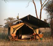 Accommodatie Serengeti Kati Kati Camp luxe safari tent met shower bucket douche, Serengeti Nationaal Park Tanzania